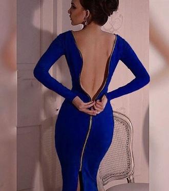 dress blue royal blue open back zip sexy midi dress fashion style trendy musheng