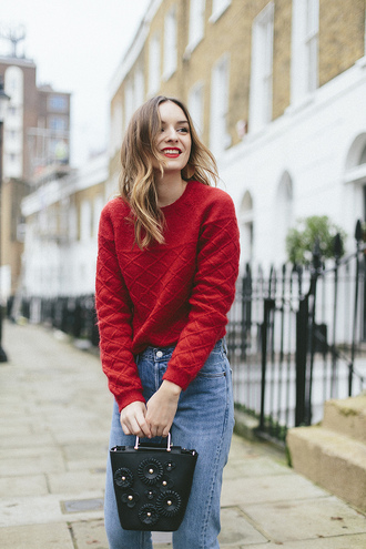 what olivia did... blogger sweater jeans shoes bag red sweater handbag winter outfits