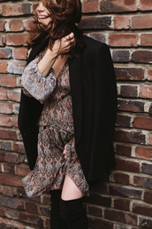 dress,tumblr,fall dress,mini dress,long sleeves,long sleeve dress,printed dress,black blazer,blazer,over the knee boots,boho dress,date outfit,winter date night outfit,puff sleeve dress,boots,black boots,thigh high boots,puffed sleeves