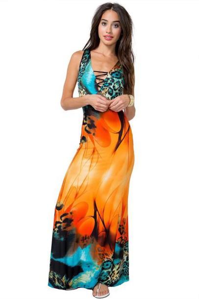 dress animal print maxi dress