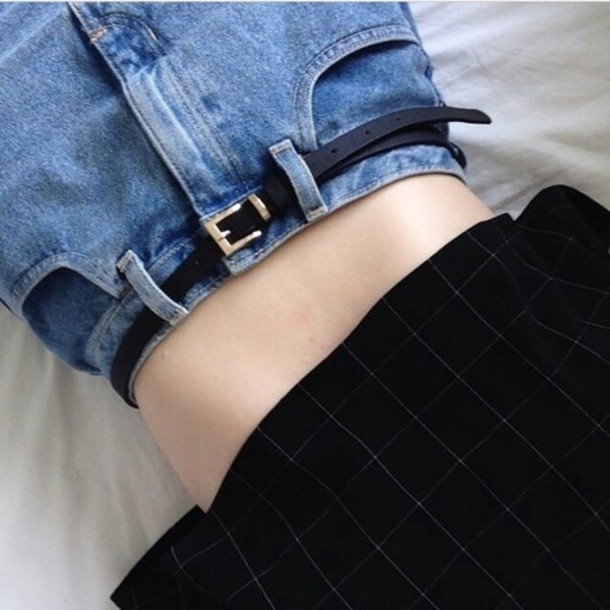 jeans probably boyfriend slim black belt blue black gold pale grunge pale grunge crop tops shirt