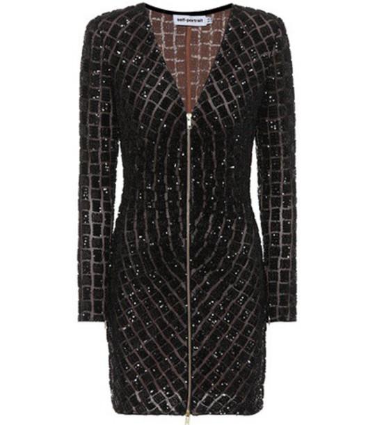 self-portrait embellished black dress