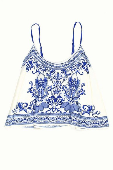shirt top summer blue cropped croptop china chinese art blouse tank top white spagetti straps china pattern camisole