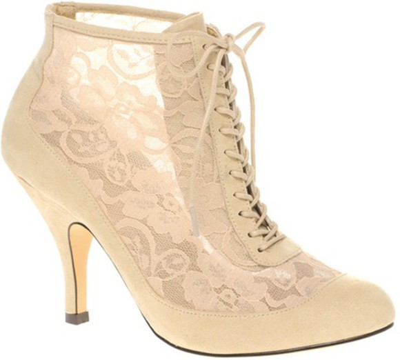 asos shoes cream high heels boot soldout laced up