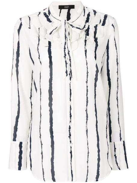 Steffen Schraut shirt striped shirt women spandex white silk top