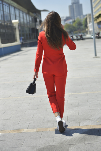 pants tumblr cropped pants red pants blazer red blazer matching set two piece pantsuits sneakers white sneakers high top sneakers white converse high top converse converse bag black bag power suit