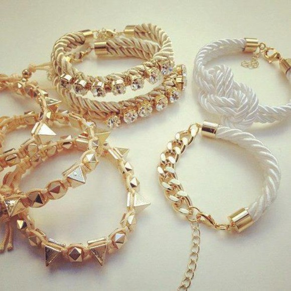 jewels luxury chain expensive bracelets girl spike stud rope white rope lock lock bracelet white rope bracelet gold bracelet