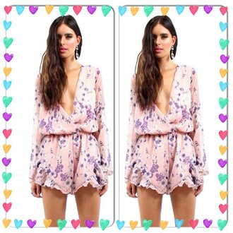 romper divergence clothing cute rompers sexy romper floral floral romper long sleeve romper ruffle romper pink romper pink light pink romper chiffon romper preppy spring summer fashion