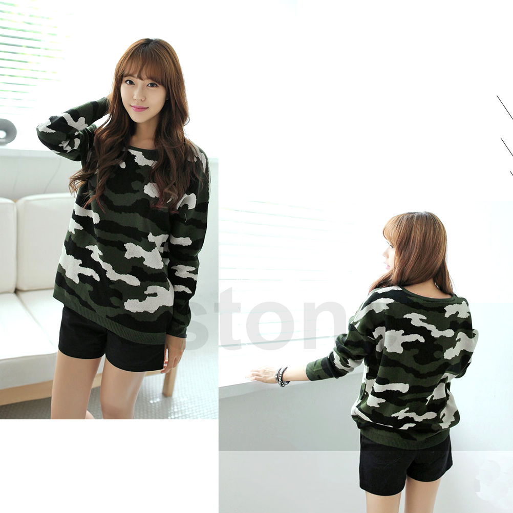 Womens Camo Camouflage Crewneck Knit Loose Jumper Pullover Sweater Tops Coat Hot | eBay