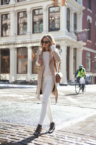 coat white and beige outfit white and beige beige coat sweater white sweater jeans white jeans white ripped jeans ripped jeans boots ankle boots black boots flat boots bag nude bag winter outfits tumblr winter look