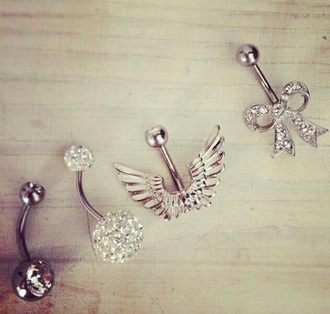 jewels belly button rings wings bow sparkle