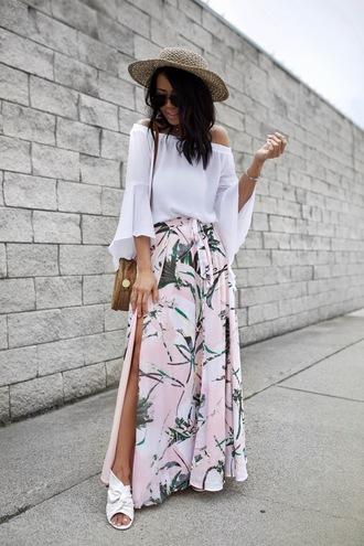 gypsytan blogger skirt blouse shoes slit skirt maxi skirt mules spring outfits