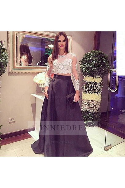 Prom Dresses Long Sleeve Lace Top