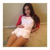 top,pia mia perez,clothes,red and white,brunette,need to find,american apparel,i think i m in love