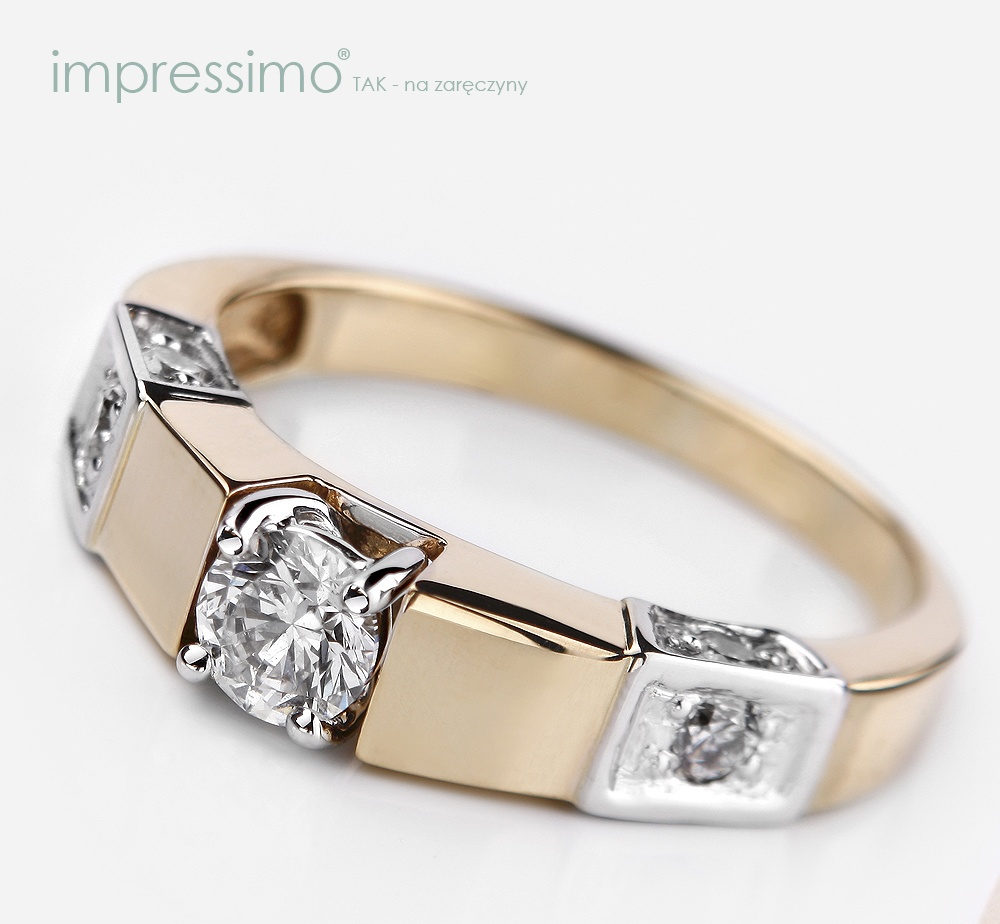 Nowoczesny pierścionek zaręczynowy z brylantami