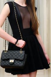 dress,black dress,black,lace,cute,short,bag