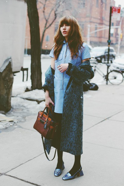 natalie off duty blogger brunette blue dress long coat leather bag winter outfits light blue loafers