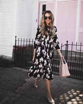 dress,tumblr,sunglasses,black dress,floral,floral dress,midi dress,bag,pink bag,ballet flats,flats,three-quarter sleeves,tortoise shell,spring outfits,spring dress,printed dress