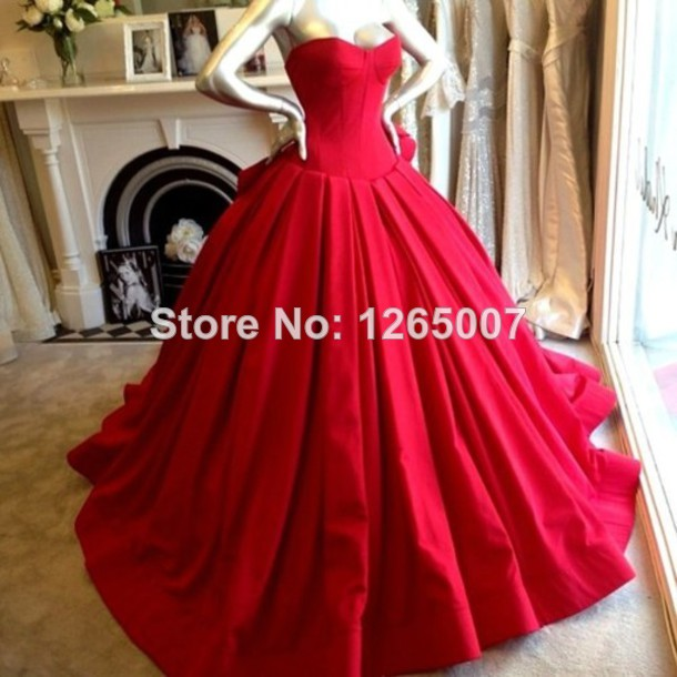 Aliexpress.com : Buy Elegant Sweetheart Puffy Ball Gown Red Satin Beautiful Evening Dresses New Fashion from Reliable gown dress up suppliers on SFBridal