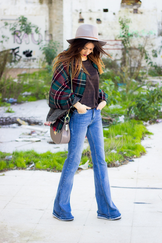 shoes and basics blogger hat flare jeans tartan