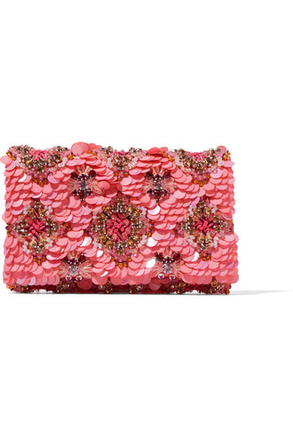 embellished clutch satin pink bag