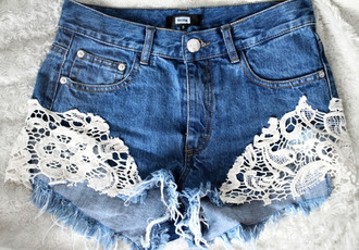 shorts lace white cute weheartit girly lovely summer hot pants jeans cut offs ebonylace.storenvy ebonylace-streetfashion