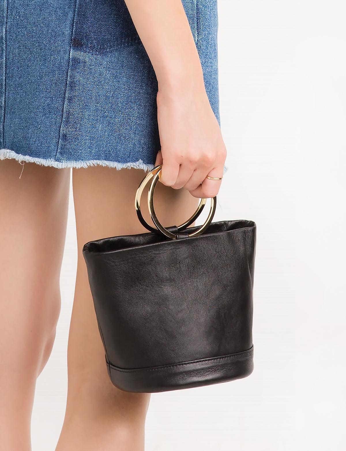 Ring mini leather bucket bag