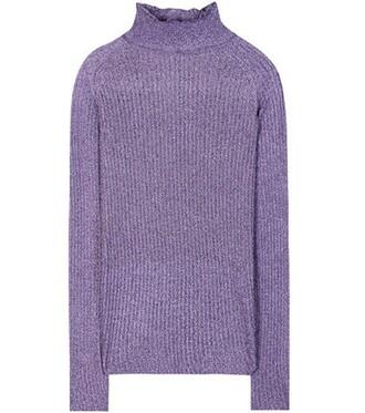 sweater turtleneck turtleneck sweater metallic purple