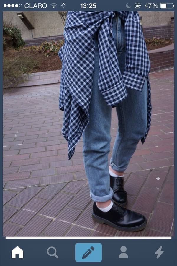 shoes jeans jewerly grunge flannel