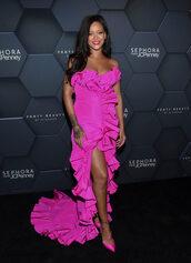 dress,rihanna,celebrity style,fashion week,pink,pink dress,gown,prom dress,ruffle dress