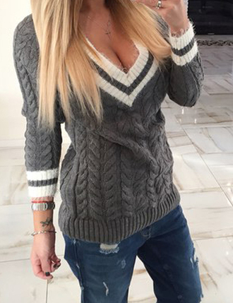 sweater zefinka cable knit knitted sweater fall outfits cozy fall sweater knitwear heavy knit jumper v neck v-neck cardigan sweaters