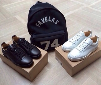 bag shoes black white black shoes white shoes sneakers classy favelas laboutin givenchy