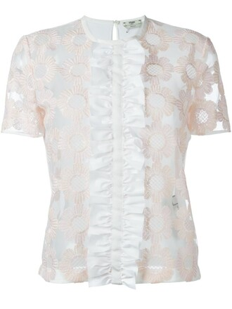 top embroidered floral white