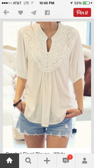 ivory blouse quarter sleeve floral ,blouse, lace, white, sheer, flowy, shirt