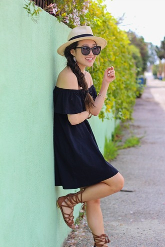 gracefullee made blogger dress hat sunglasses shoes jewels