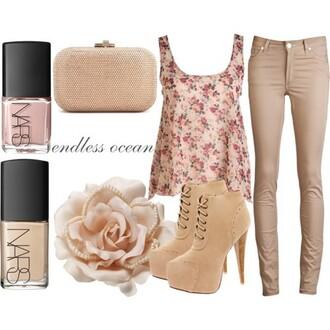 shoes suede booties flowers skinny pants floral shirt nars cosmetics endless ocean blouse pants