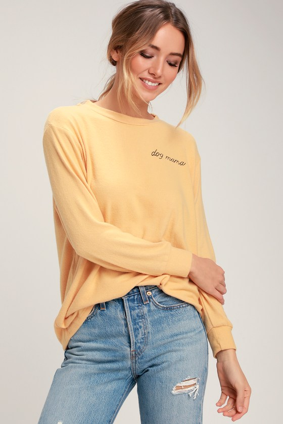 Dog Mama Mustard Yellow Sweater Top
