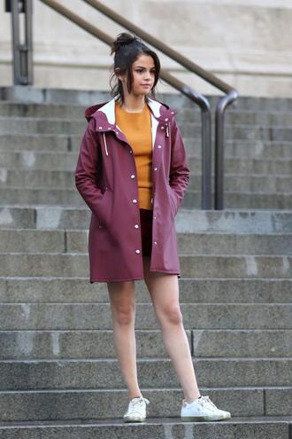 skirt jacket fall outfits selena gomez sneakers top