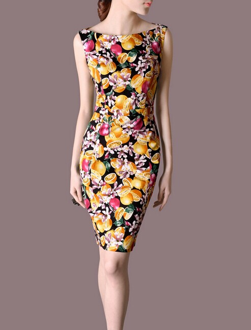 Flower Summer OL Sleeveless Slim Women Fashion Dress lml7005 - ott-123 - Global Online Shopping for Dresses