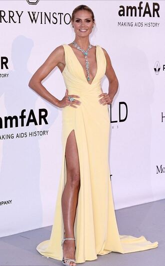 dress gown yellow yellow dress slit dress sandals plunge dress plunge neckline red carpet dress cannes heidi klum sexy prom dress long prom dress wedding dress