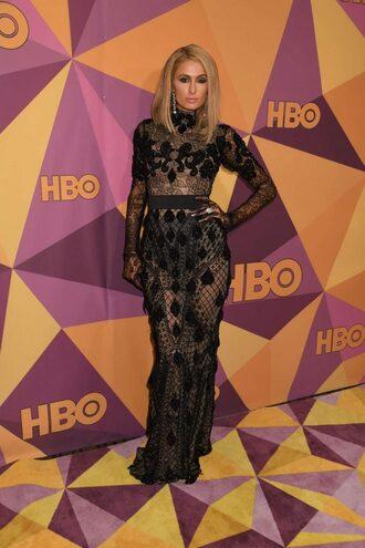dress lace dress black dress paris hilton gown golden globes 2018