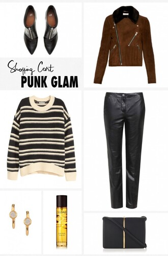 garance dore blogger brown leather jacket black leather pants striped sweater