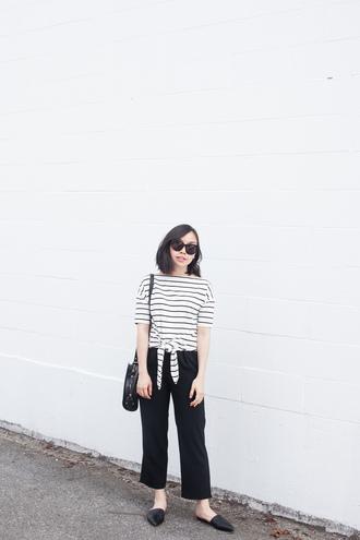 t-shirt black pants tumblr stripes striped top pants cropped pants shoes mules bag sunglasses