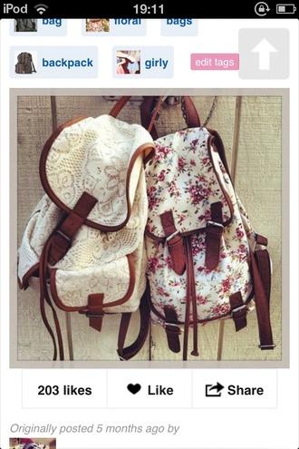 bag white backpack lace cute