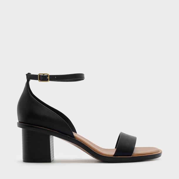 open sandals black shoes