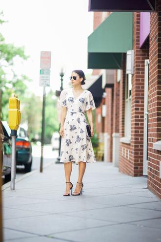 lana jayne blogger dress bag floral dress floral nude dress beige dress clutch sandal heels sandals round sunglasses