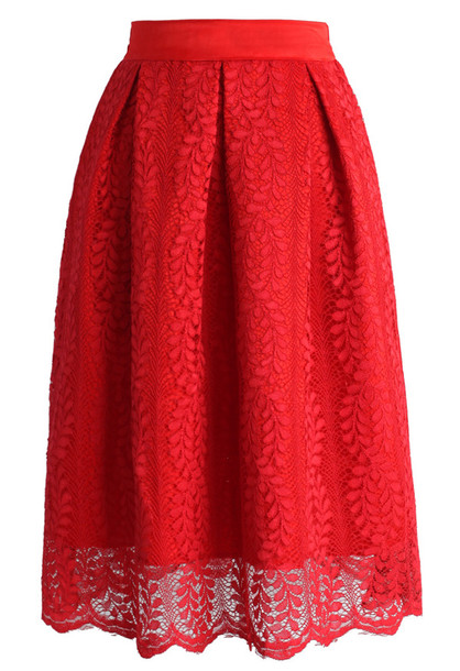 Skirt: red flair lace midi skirt, chicwish, red, lace, midi skirt ...