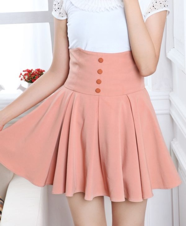 Pink High Waisted Skirt - Dress Ala