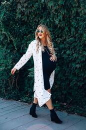 gbo fashion,blogger,dress,socks,shoes,maternity dress,fall outfits,cardigan,ankle boots