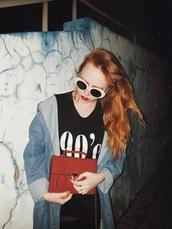 kristina magdalina,blogger,sunglasses,bag,t-shirt,skirt,red bag,black t-shirt,90s style